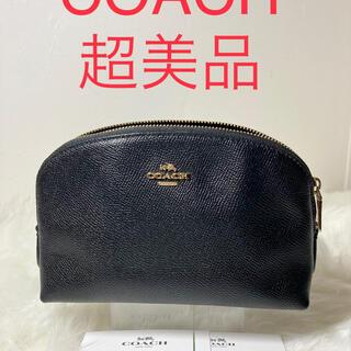 COACH - 【本物】COACH コーチ ポーチ カーフレザー ブラック