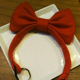ハンドメイド 赤のリボンヘアバンド(小道具)