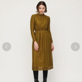 スライ(SLY)のスタンドロングレースワンピース カーキ SLY ドレス(ひざ丈ワンピース)
