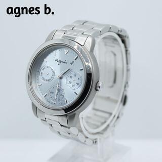 アニエスベー(agnes b.)のagnes b アニエスベー★トリプルカレンダー レディース腕時計 ライトブルー(腕時計)