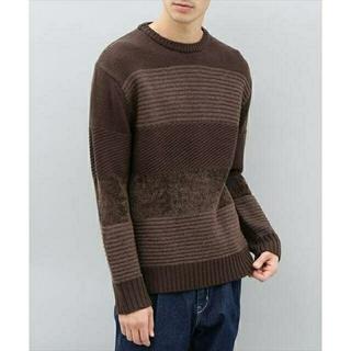 Adam et Rope' - アダムエロペ 切替セーター ニット メンズM ブラウン 茶色 ローゲージ