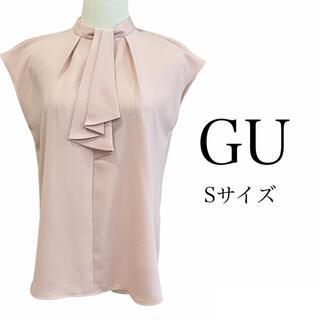 GU - 【美品】GU タイネックブラウス ピンク