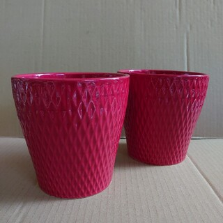 陶器製 フラワーポット  鉢カバー レッド (プランター)