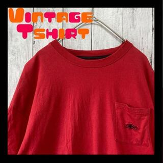 リーボック(Reebok)のリーボックワンポイント刺繍 アメリカ古着 tシャツ ポケT XL くすみレッド(Tシャツ/カットソー(半袖/袖なし))
