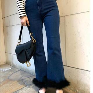 スナイデル(snidel)のépine bell jeans blue×black feather fur(デニム/ジーンズ)