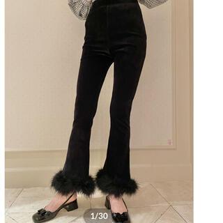 スナイデル(snidel)のhigh-waist fit corduroy fur pants black(カジュアルパンツ)