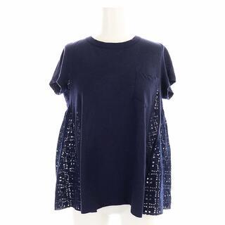 サカイラック(sacai luck)のサカイラック 15AW Tシャツ カットソー レース切替 半袖 麻 S 紺(Tシャツ(半袖/袖なし))