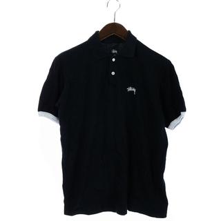 ステューシー(STUSSY)のステューシー STUSSY ポロシャツ ロゴ バイカラー 半袖 S 黒 白(ポロシャツ)