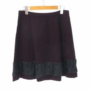 ミュウミュウ(miumiu)のミュウミュウ スカート ひざ丈 フレア フリル 絹 38 S ボルドー グレー(ひざ丈スカート)