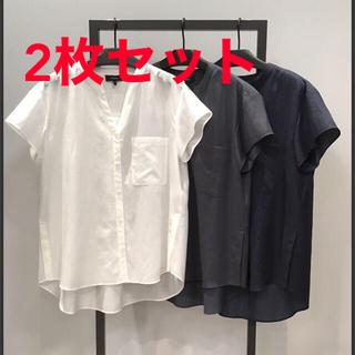 セオリー(theory)の未使用♡theory セオリー スキッパーシャツ ホワイト グレー2枚セット (シャツ/ブラウス(半袖/袖なし))