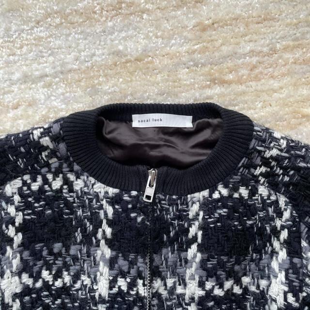 sacai luck(サカイラック)の美品⭐︎sacai luck ツイード ノーカラー ブルゾン サカイ ウール レディースのジャケット/アウター(ブルゾン)の商品写真