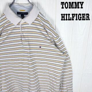 トミーヒルフィガー(TOMMY HILFIGER)のトミーヒルフィガー 長袖ポロシャツ 刺繍ワンポイント 胸ロゴ ボーダー ゆるだぼ(ポロシャツ)