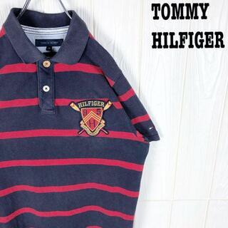 トミーヒルフィガー(TOMMY HILFIGER)のトミーヒルフィガー 鹿の子 半袖ポロシャツ 刺繍ワンポイントロゴ ボーダー90s(ポロシャツ)