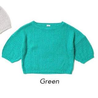フラワー(flower)のjewel color knit Green フラワー ニット(ニット/セーター)