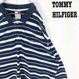 トミーヒルフィガー(TOMMY HILFIGER)のトミーヒルフィガー ポロシャツ ボーダー ワンポイント刺繍ロゴ ゆるだぼ 90s(ポロシャツ)