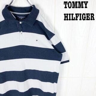 トミーヒルフィガー(TOMMY HILFIGER)のトミーヒルフィガー 半袖ポロシャツ 太ボーダー 鹿の子 刺繍ワンポイント胸ロゴ(ポロシャツ)