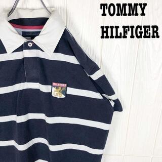 トミーヒルフィガー(TOMMY HILFIGER)のトミーヒルフィガー 半袖ポロシャツ ゆるだぼ 太ボーダー 刺繍ワンポイント袖ロゴ(ポロシャツ)