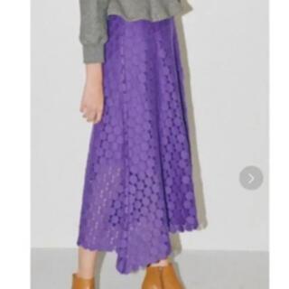 ルシェルブルー(LE CIEL BLEU)のルシェルブルー ドット スカート パープル 未使用(ロングスカート)