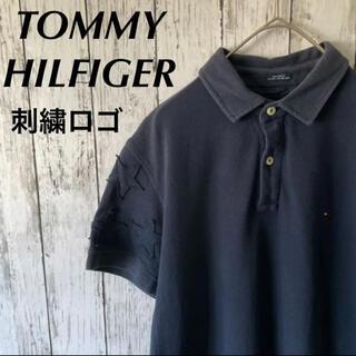 トミーヒルフィガー(TOMMY HILFIGER)のTOMMYHILFIGER 刺繍ロゴ ワンポイントロゴ ポロシャツ 半袖 古着(ポロシャツ)