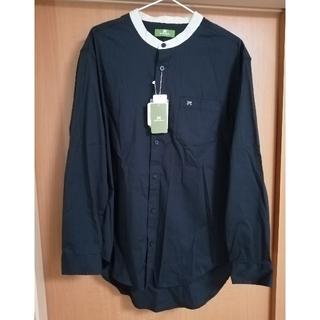 Avail - 新品☆メンズパイピングシャツ バンドカラーシャツ 黒 ブラック Lサイズ