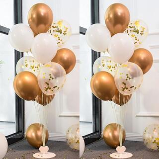 風船 バルーン 誕生日 結婚式 スタンド 2セット付き ゴールド×ホワイト(ウェルカムボード)