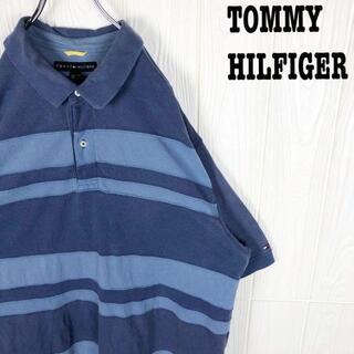 トミーヒルフィガー(TOMMY HILFIGER)のトミーヒルフィガー 鹿の子 半袖ポロシャツ 刺繍ワンポイント 袖ロゴ 超ゆるだぼ(ポロシャツ)