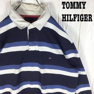 トミーヒルフィガー(TOMMY HILFIGER)のトミーヒルフィガー ラガーシャツ ワンポイント刺繍ロゴ ゆるだぼ90s ボーダー(ポロシャツ)