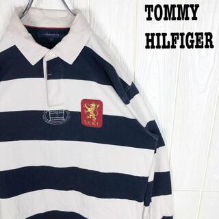 トミーヒルフィガー(TOMMY HILFIGER)のトミーヒルフィガー ラガーシャツ 太ボーダー ゆるだぼ 刺繍ワンポイント 袖ロゴ(ポロシャツ)