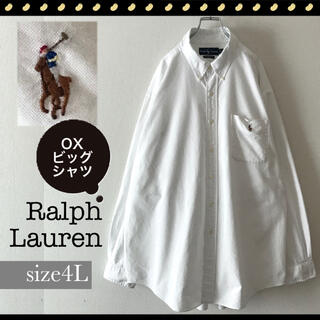 POLO RALPH LAUREN - ラルフローレン★オックスフォードBDビッグ白シャツ★ポケット★ポロプレーヤー刺繍