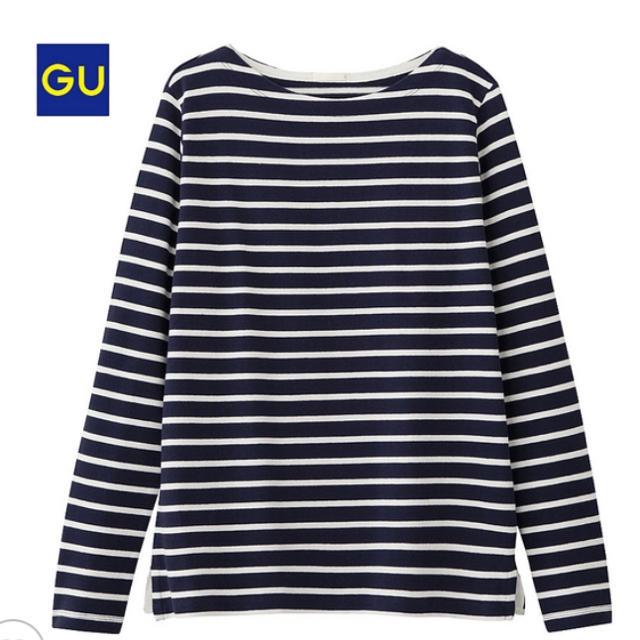 GU(ジーユー)のボーダーボートネックT レディースのトップス(Tシャツ(長袖/七分))の商品写真