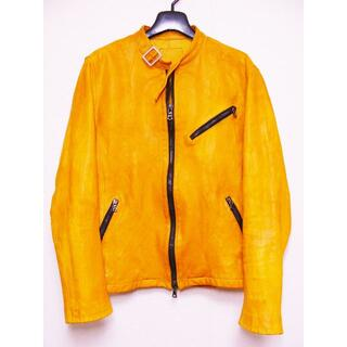 ISAMUKATAYAMA BACKLASH - バックラッシュカーフカウレザー牛皮革シングル襟ベルトライダースジャケット