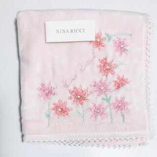 NINA RICCI - ニナリッチ お花刺繍タオルハンカチ ピンク