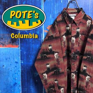 Columbia - 【コロンビア】アニマル柄ドッグ柄ロゴタグ入り総柄ハンティングシャツ
