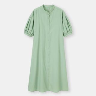 GU - バンドカラーシャツワンピース 5部袖 グリーン