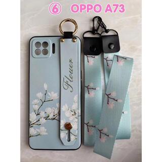 可愛い&ハンドベルト&ストラップ2点付き OPPO A73  ⑥白の花