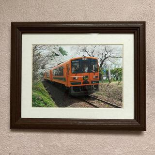 写真 津軽鉄道 フジカラー木製額縁 キャビネ 茶(写真額縁)