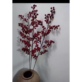 レッドベリーピック2本セット フェイク 造花 インテリア デコレーション(ドライフラワー)