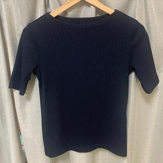UNIQLO - Tシャツ カットソー トップス ユニクロ ボートネック 半袖 黒 S ブラック