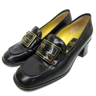 フェンディ(FENDI)のフェンディ scarpe ヒール ローファー ズッカ金具 ワンポイント 36(ローファー/革靴)