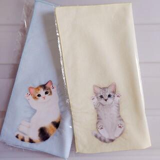 フェリシモ(FELISSIMO)の新品 フェリシモ 猫部 タオル ハンカチ (ミケ&サバ) 猫 ねこ ネコ(その他)