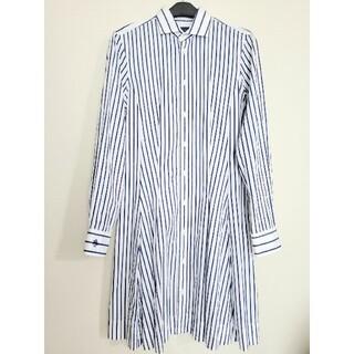 ポロラルフローレン(POLO RALPH LAUREN)の美品 ポロラルフローレン ストライプ シャツ ワンピース 白 × 青(ひざ丈ワンピース)