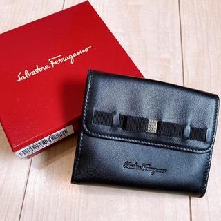 フェラガモ(Ferragamo)の美品☆フェラガモ  レザー 二つ折り財布 リボン(財布)