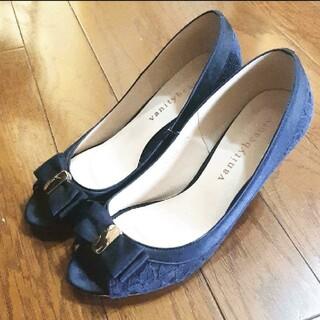 バニティービューティー(vanitybeauty)のvanity beauty 靴 オープントゥ ネイビー リボン レース(ハイヒール/パンプス)