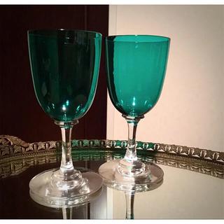Baccarat - 1900年代オールドバカラ ブルーグリーン コンテス・ド・パリ ワイングラス2脚