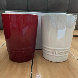 ルクルーゼ(LE CREUSET)のル・クルーゼ ペアショートタンブラー チェリーレッド&ホワイトラスター(グラス/カップ)