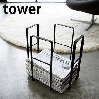 tower 山崎実業 新聞紙ストッカー ブラック