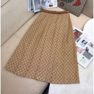グッチ(Gucci)の GUCCI プリーツスカート リネン GGキャンバス(ロングスカート)