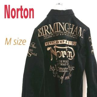 ノートン(Norton)のNorton ノートン 黒 ビッグロゴ コーデュロイシャツ 柄シャツ(シャツ)