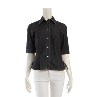 フェンディ(FENDI)のFENDI jeans デニムシャツ 半袖 サイドリボン(シャツ/ブラウス(長袖/七分))