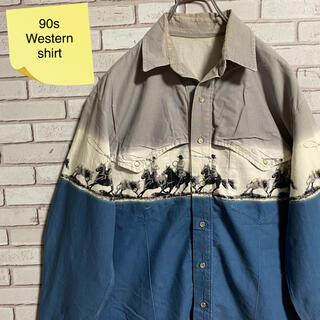 90s 古着 ヴィンテージ ウエスタンシャツ BDシャツ ゆるだぼ(シャツ)